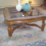 (P 1-7284) Bernhardt Wood and Glass Coffee Table