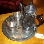 (W 052913-5) Silver Tea Set with Platter